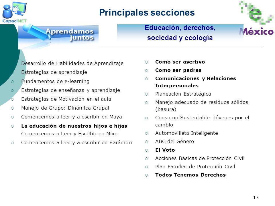 17 Educación, derechos, sociedad y ecología Principales secciones Desarrollo de Habilidades de Aprendizaje Estrategias de aprendizaje Fundamentos de e