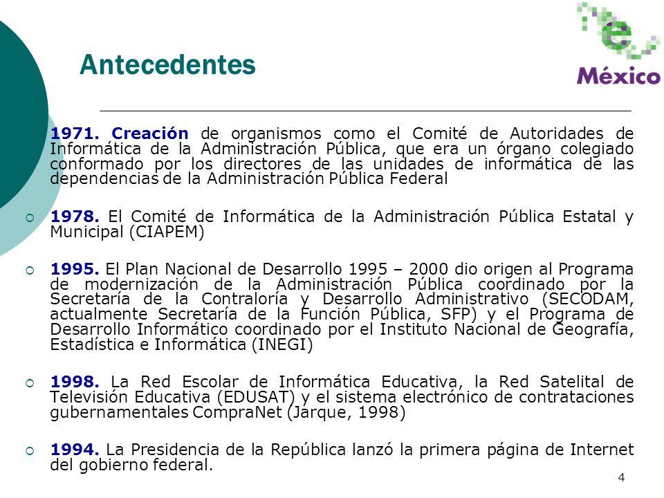 4 Antecedentes 1971. Creación de organismos como el Comité de Autoridades de Informática de la Administración Pública, que era un órgano colegiado con