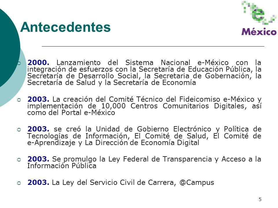 5 2000. Lanzamiento del Sistema Nacional e-México con la integración de esfuerzos con la Secretaría de Educación Pública, la Secretaría de Desarrollo
