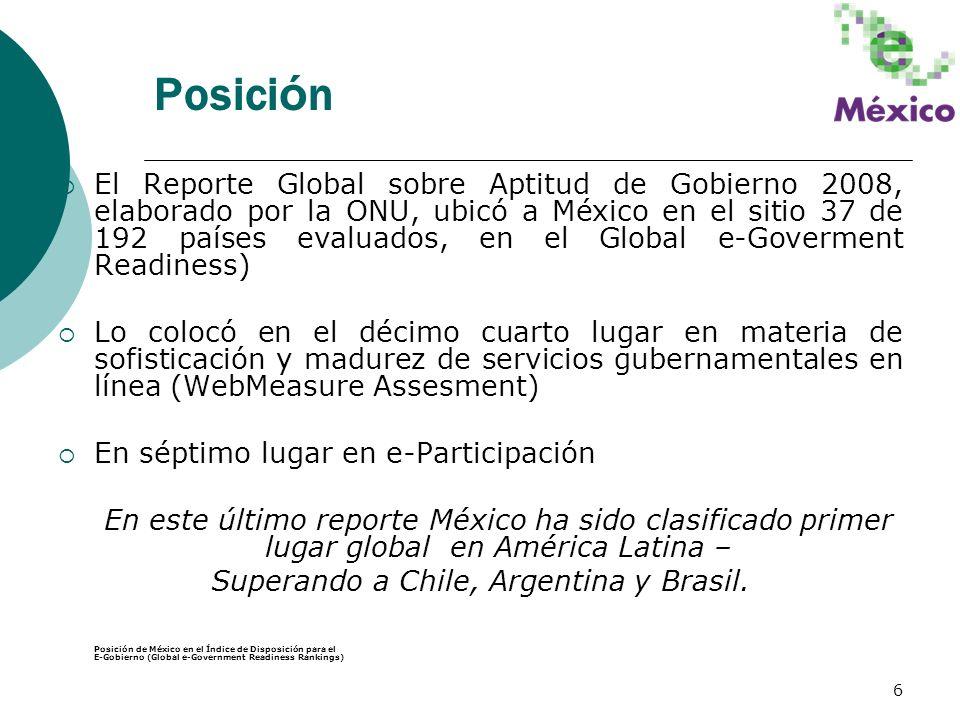 6 Posici ó n El Reporte Global sobre Aptitud de Gobierno 2008, elaborado por la ONU, ubicó a México en el sitio 37 de 192 países evaluados, en el Glob