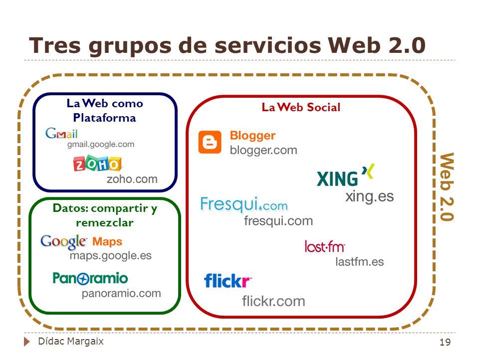 Tres grupos de servicios Web 2.0 La Web como Plataforma Datos: compartir y remezclar La Web Social Web 2.0 xing.es 19 Dídac Margaix