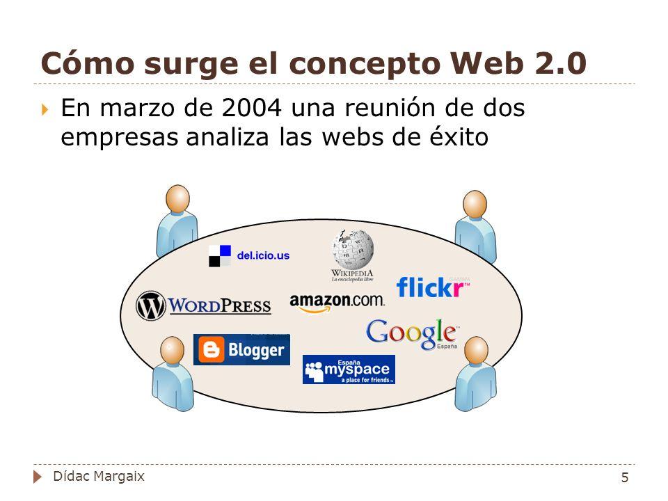 Cómo surge el concepto Web 2.0 En marzo de 2004 una reunión de dos empresas analiza las webs de éxito 5 Dídac Margaix