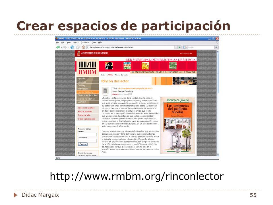 Crear espacios de participación http://www.rmbm.org/rinconlector 55 Dídac Margaix