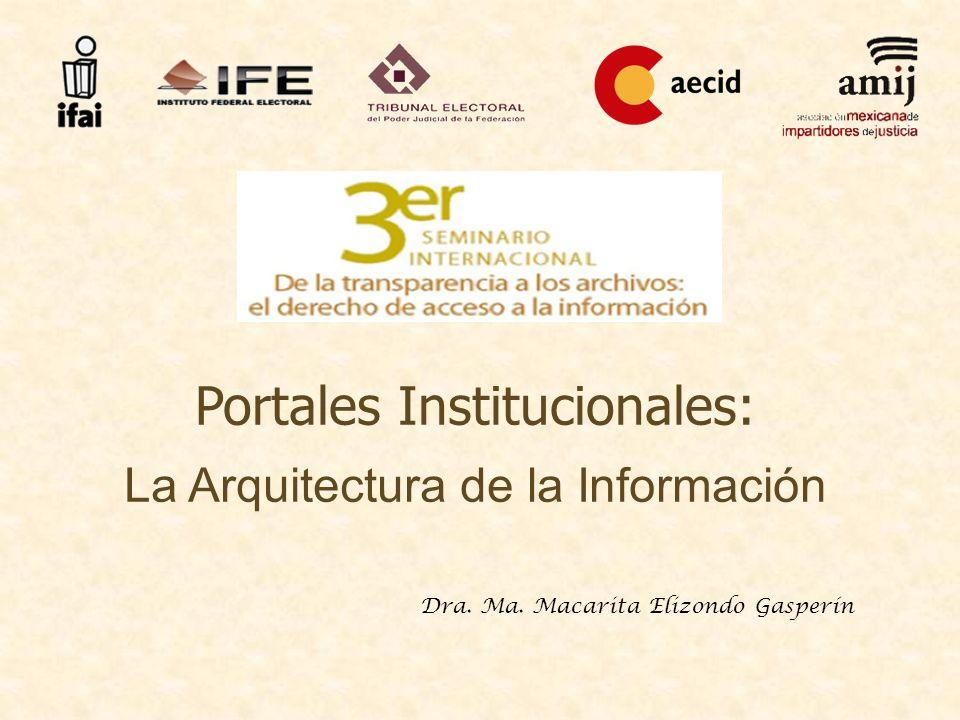Dra. Ma. Macarita Elizondo Gasperín Portales Institucionales: La Arquitectura de la Información