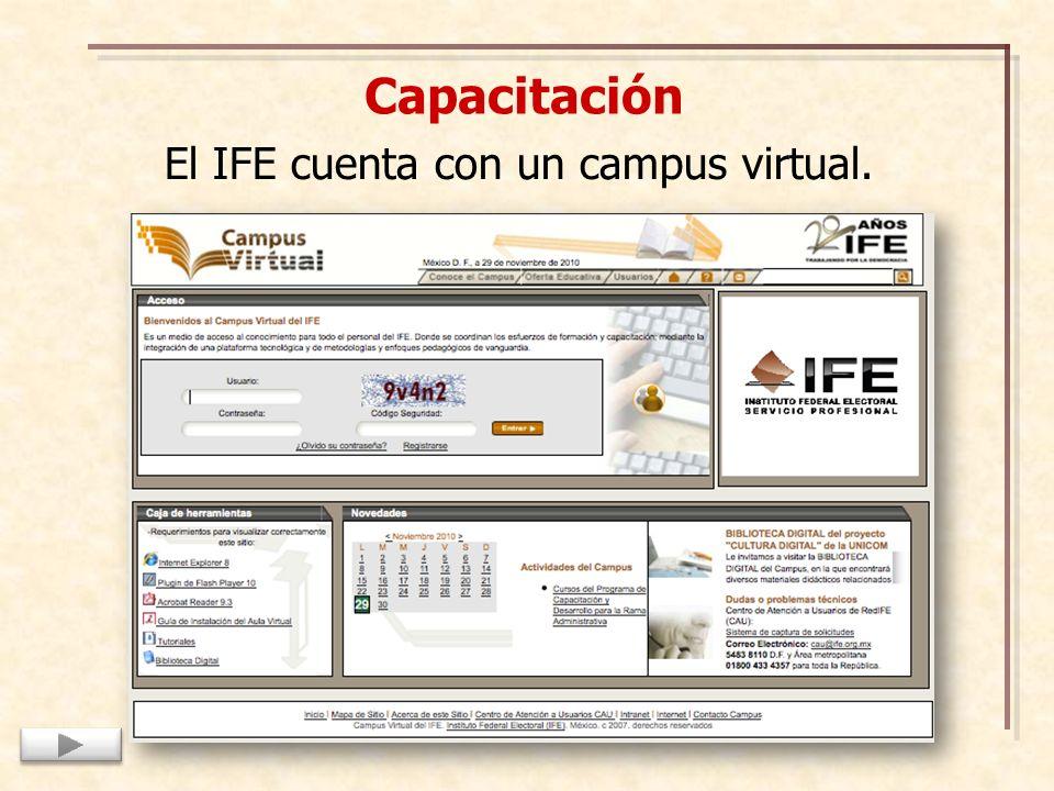Capacitación El IFE cuenta con un campus virtual.