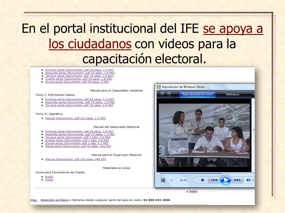 En el portal institucional del IFE se apoya a los ciudadanos con videos para la capacitación electoral.