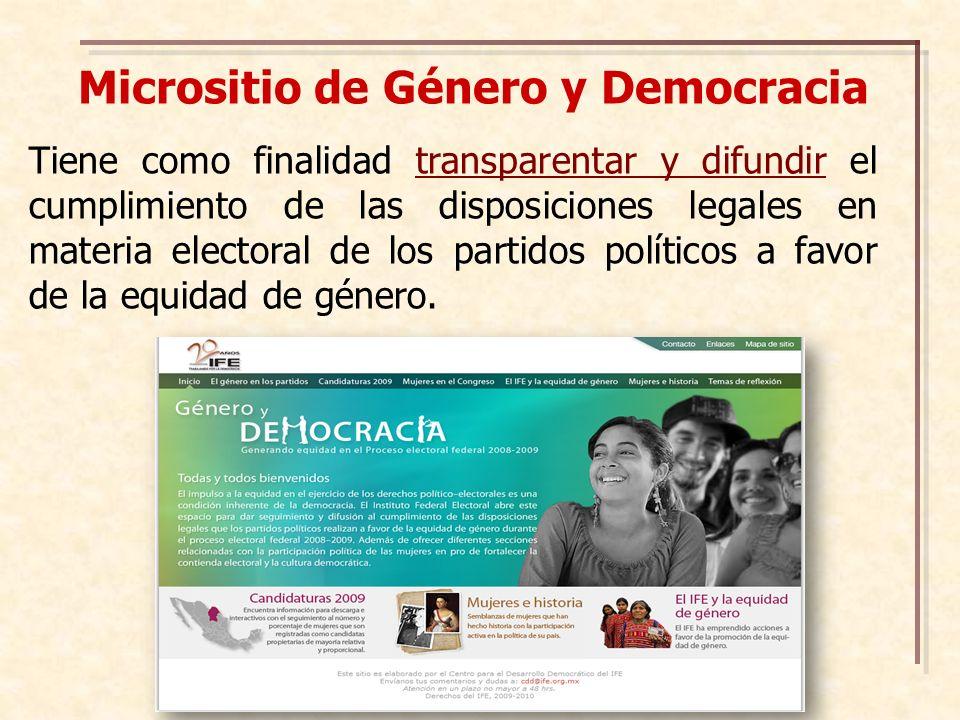 Micrositio de Género y Democracia Tiene como finalidad transparentar y difundir el cumplimiento de las disposiciones legales en materia electoral de los partidos políticos a favor de la equidad de género.