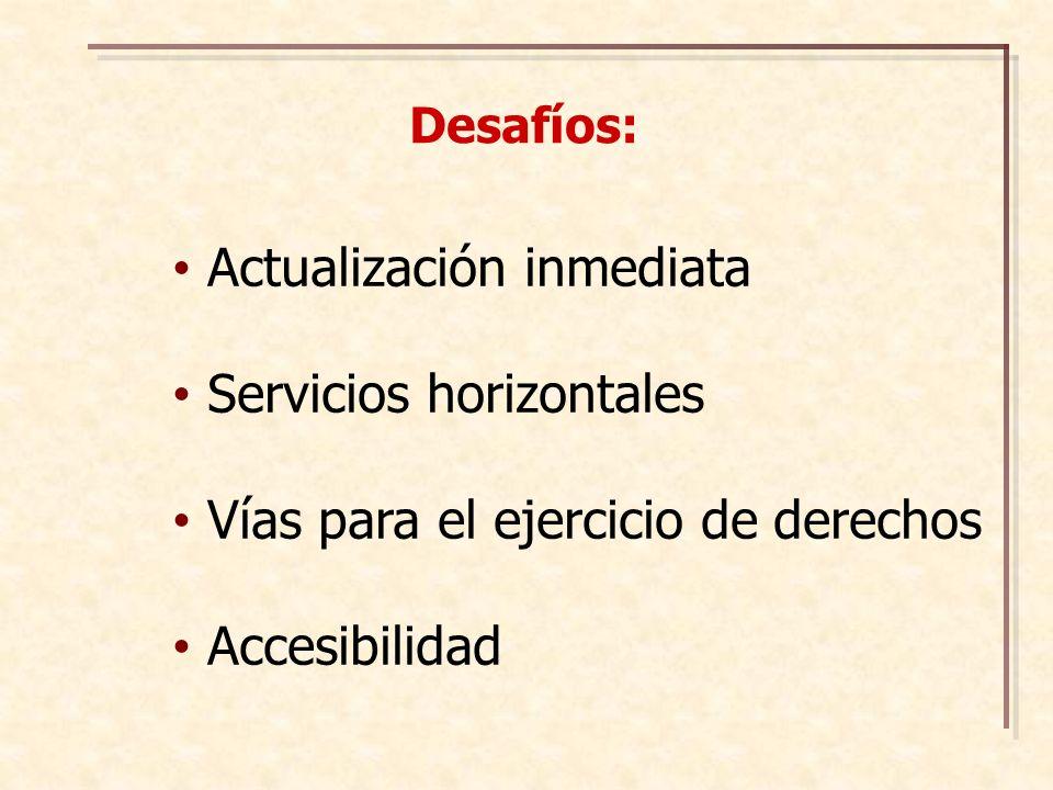 Actualización inmediata Servicios horizontales Vías para el ejercicio de derechos Accesibilidad Desafíos: