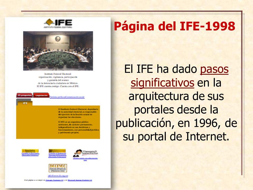 Página del IFE-1998 El IFE ha dado pasos significativos en la arquitectura de sus portales desde la publicación, en 1996, de su portal de Internet.
