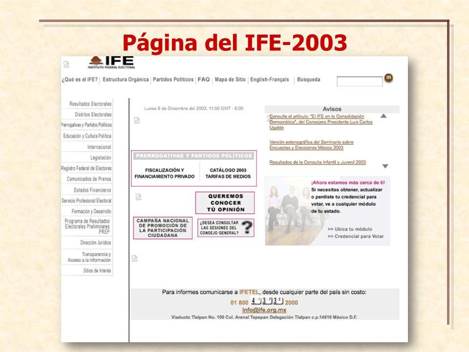Página del IFE-2003