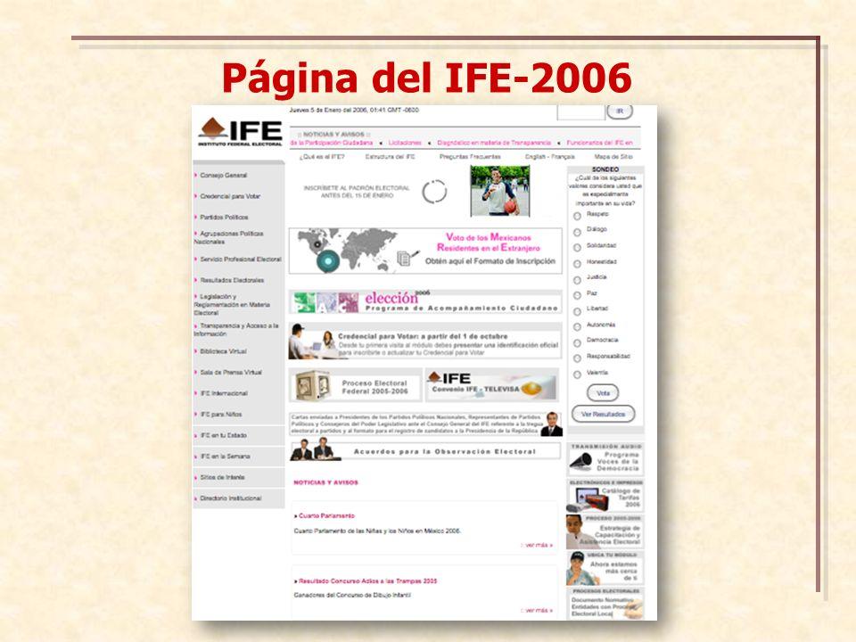 Página del IFE-2006