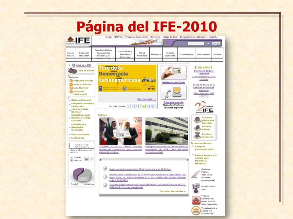 Página del IFE-2010
