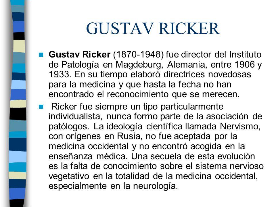 GUSTAV RICKER Gustav Ricker (1870-1948) fue director del Instituto de Patología en Magdeburg, Alemania, entre 1906 y 1933. En su tiempo elaboró direct