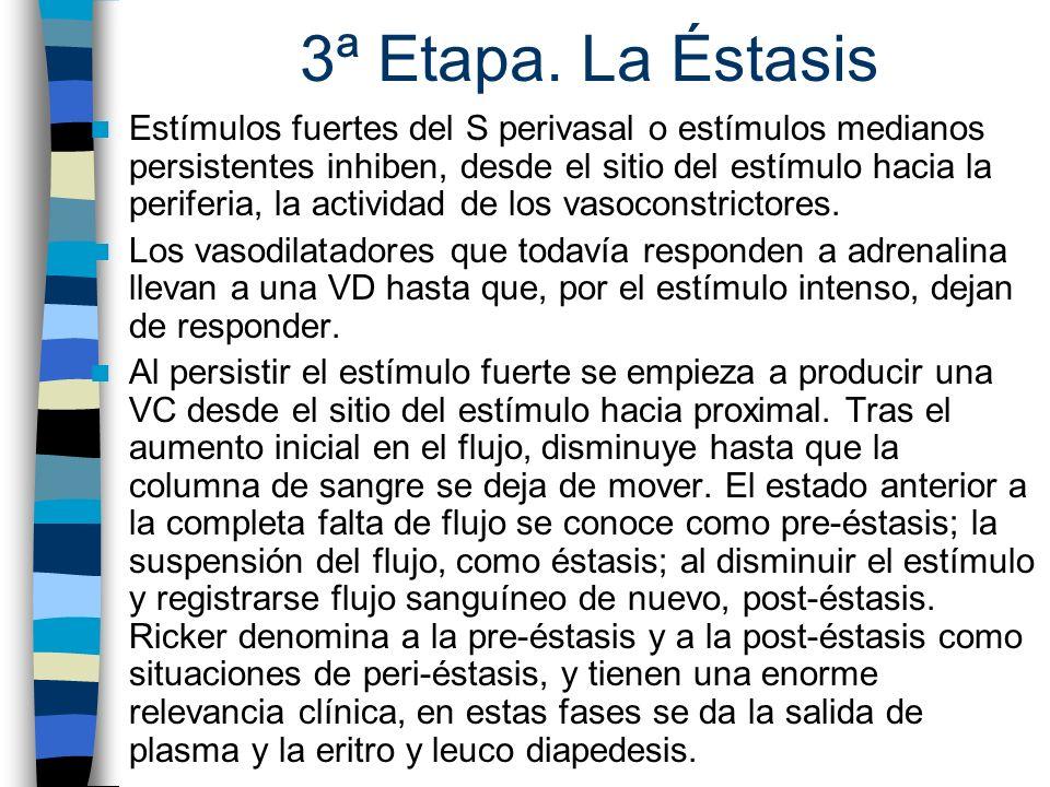 3ª Etapa. La Éstasis Estímulos fuertes del S perivasal o estímulos medianos persistentes inhiben, desde el sitio del estímulo hacia la periferia, la a