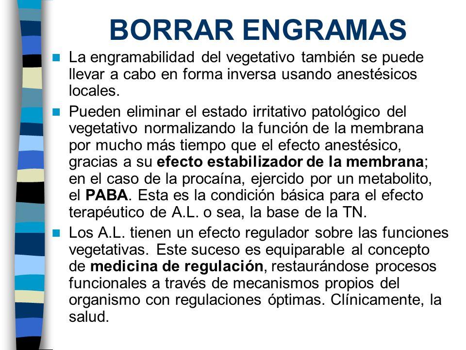BORRAR ENGRAMAS La engramabilidad del vegetativo también se puede llevar a cabo en forma inversa usando anestésicos locales. Pueden eliminar el estado