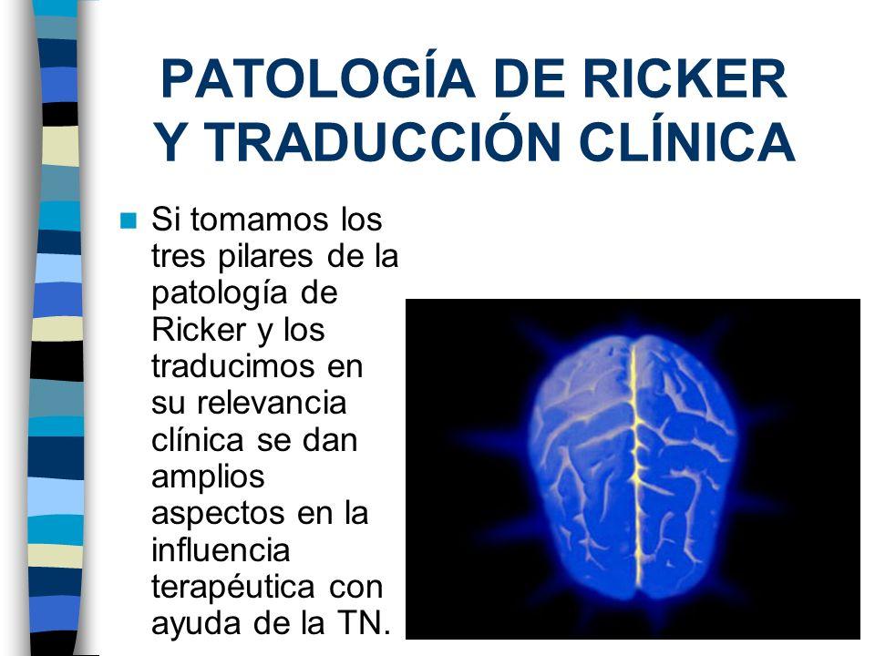 PATOLOGÍA DE RICKER Y TRADUCCIÓN CLÍNICA Si tomamos los tres pilares de la patología de Ricker y los traducimos en su relevancia clínica se dan amplio