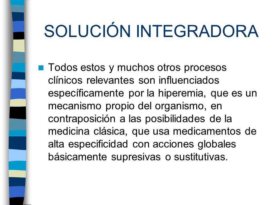 SOLUCIÓN INTEGRADORA Todos estos y muchos otros procesos clínicos relevantes son influenciados específicamente por la hiperemia, que es un mecanismo p