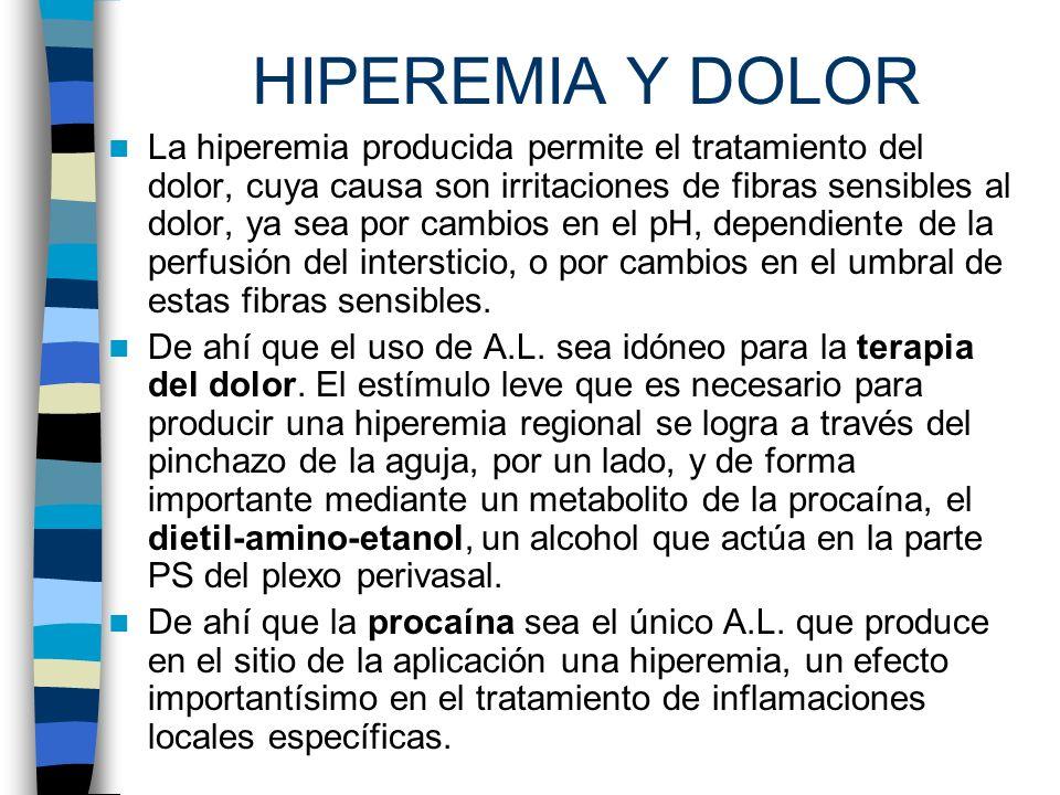 HIPEREMIA Y DOLOR La hiperemia producida permite el tratamiento del dolor, cuya causa son irritaciones de fibras sensibles al dolor, ya sea por cambio
