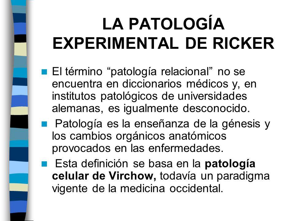 LA PATOLOGÍA EXPERIMENTAL DE RICKER El término patología relacional no se encuentra en diccionarios médicos y, en institutos patológicos de universida