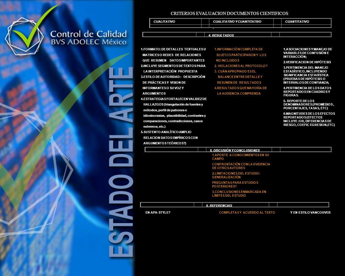 4. RESULTADOS 1.FORMATO: DE DETALLES TEXTUALES U MATRICES O REDES DE RELACIONES QUE RESUMEN DATOS IMPORTANTES 2.INCLUYE SEGMENTOS DE TEXTOS PARA LA IN