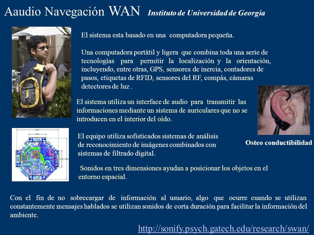 Aaudio Navegación WAN Instituto de Universidad de Georgia El sistema esta basado en una computadora pequeña. Una computadora portátil y ligera que com