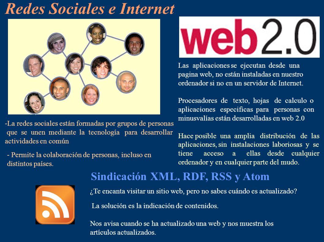 Redes Sociales e Internet -La redes sociales están formadas por grupos de personas que se unen mediante la tecnología para desarrollar actividades en común - Permite la colaboración de personas, incluso en distintos países.