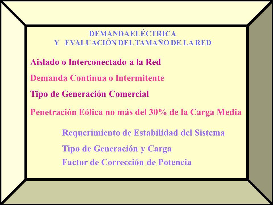DEMANDA ELÉCTRICA Y EVALUACIÓN DEL TAMAÑO DE LA RED Aislado o Interconectado a la Red Demanda Continua o Intermitente Tipo de Generación Comercial Pen