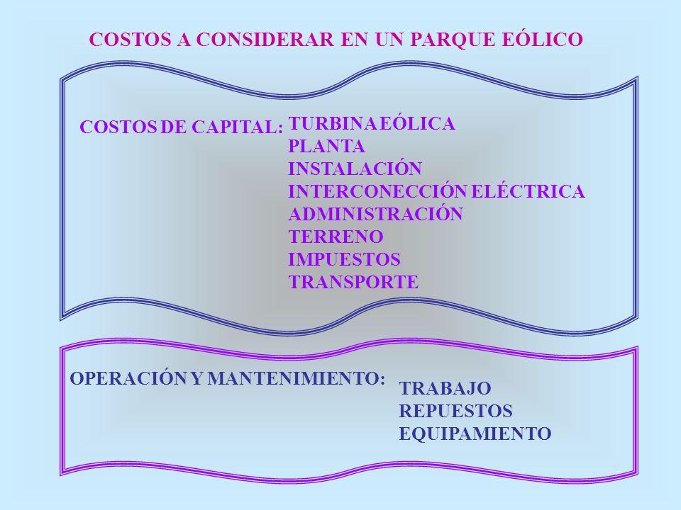 COSTOS A CONSIDERAR EN UN PARQUE EÓLICO COSTOS DE CAPITAL: TURBINA EÓLICA PLANTA INSTALACIÓN INTERCONECCIÓN ELÉCTRICA ADMINISTRACIÓN TERRENO IMPUESTOS