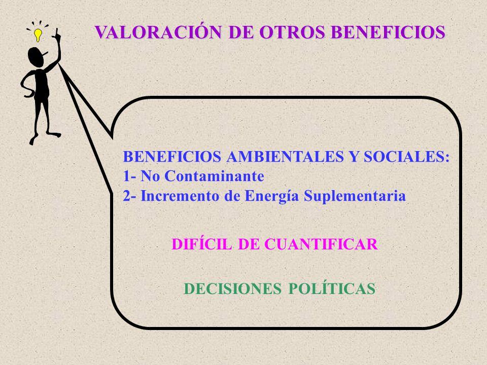 VALORACIÓN DE OTROS BENEFICIOS BENEFICIOS AMBIENTALES Y SOCIALES: 1- No Contaminante 2- Incremento de Energía Suplementaria DIFÍCIL DE CUANTIFICAR DEC