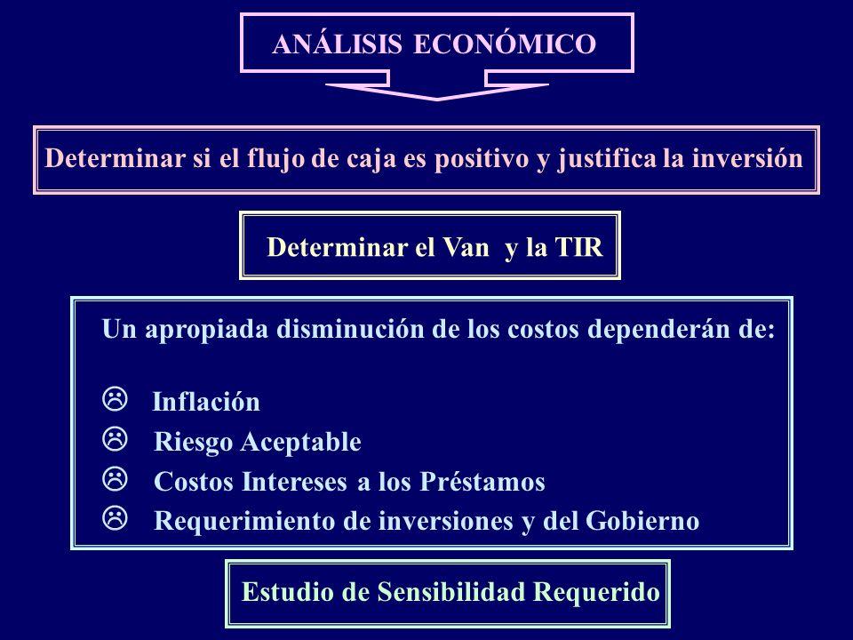 ANÁLISIS ECONÓMICO Determinar si el flujo de caja es positivo y justifica la inversión Un apropiada disminución de los costos dependerán de: Inflación