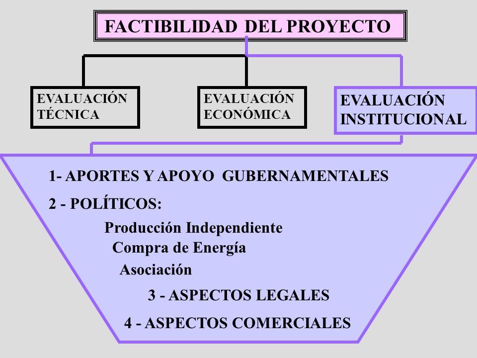FACTIBILIDAD DEL PROYECTO EVALUACIÓN TÉCNICA EVALUACIÓN INSTITUCIONAL 1- APORTES Y APOYO GUBERNAMENTALES EVALUACIÓN ECONÓMICA 4 - ASPECTOS COMERCIALES