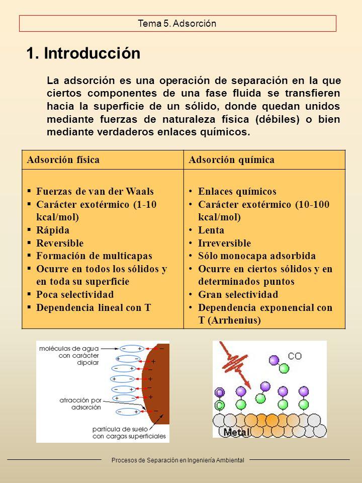 Procesos de Separación en Ingeniería Ambiental 1.Introducción Adsorción físicaAdsorción química Fuerzas de van der Waals Carácter exotérmico (1-10 kcal/mol) Rápida Reversible Formación de multicapas Ocurre en todos los sólidos y en toda su superficie Poca selectividad Dependencia lineal con T Enlaces químicos Carácter exotérmico (10-100 kcal/mol) Lenta Irreversible Sólo monocapa adsorbida Ocurre en ciertos sólidos y en determinados puntos Gran selectividad Dependencia exponencial con T (Arrhenius) La adsorción es una operación de separación en la que ciertos componentes de una fase fluida se transfieren hacia la superficie de un sólido, donde quedan unidos mediante fuerzas de naturaleza física (débiles) o bien mediante verdaderos enlaces químicos.