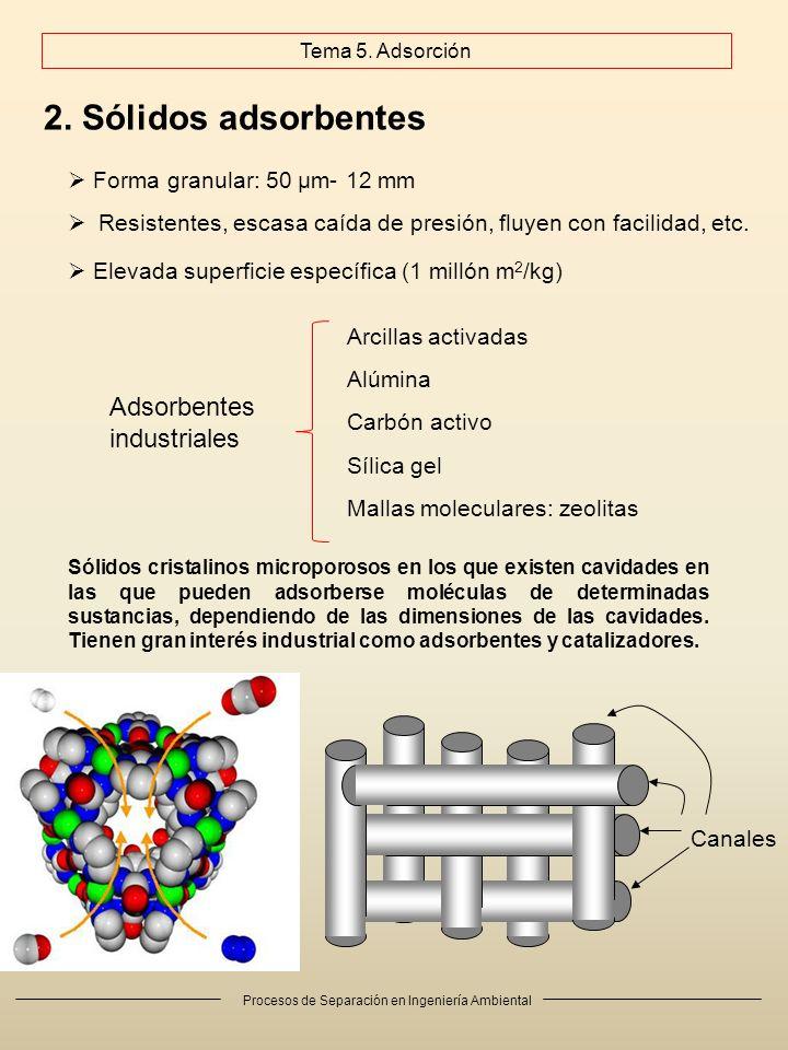 Procesos de Separación en Ingeniería Ambiental 2. Sólidos adsorbentes Arcillas activadas Alúmina Carbón activo Mallas moleculares: zeolitas Sílica gel