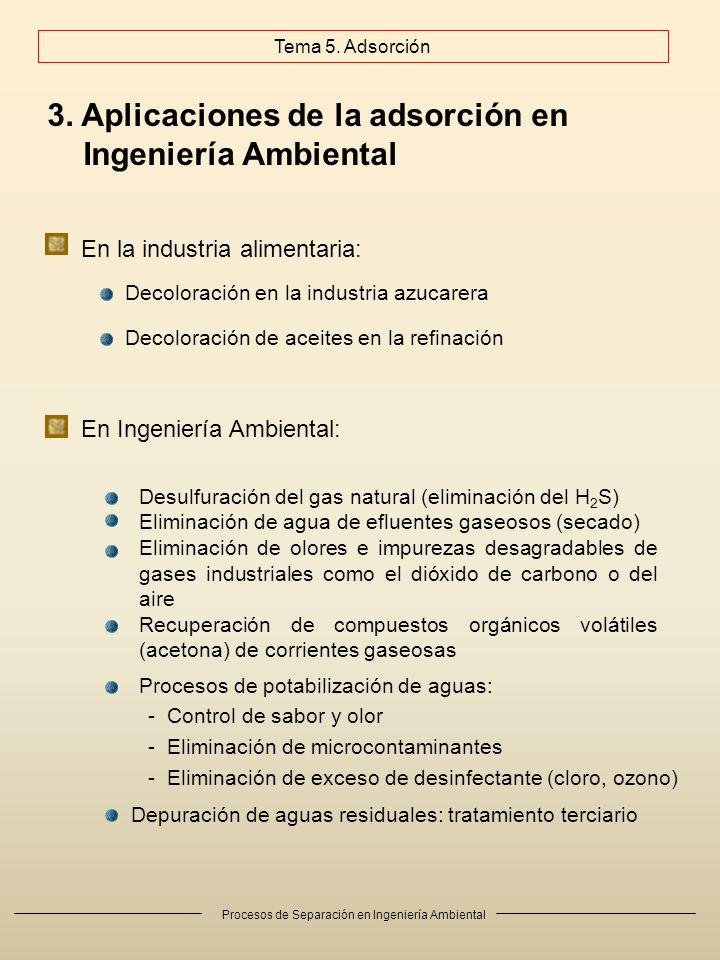 Procesos de Separación en Ingeniería Ambiental 3. Aplicaciones de la adsorción en Ingeniería Ambiental En la industria alimentaria: Decoloración en la