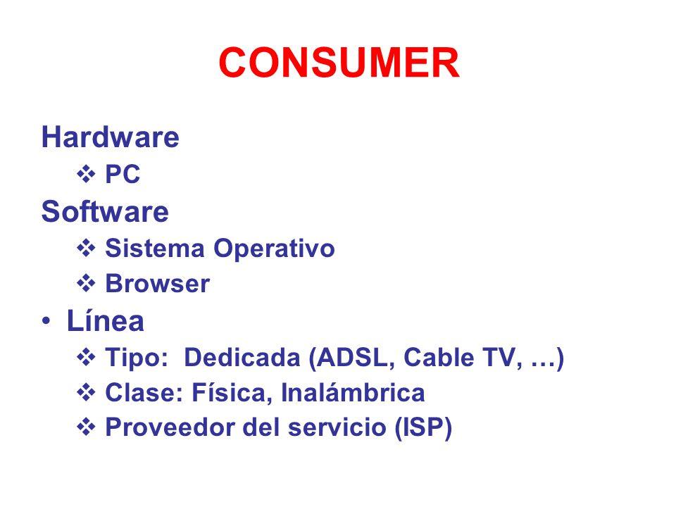 CONSUMER Hardware PC Software Sistema Operativo Browser Línea Tipo: Dedicada (ADSL, Cable TV, …) Clase: Física, Inalámbrica Proveedor del servicio (IS