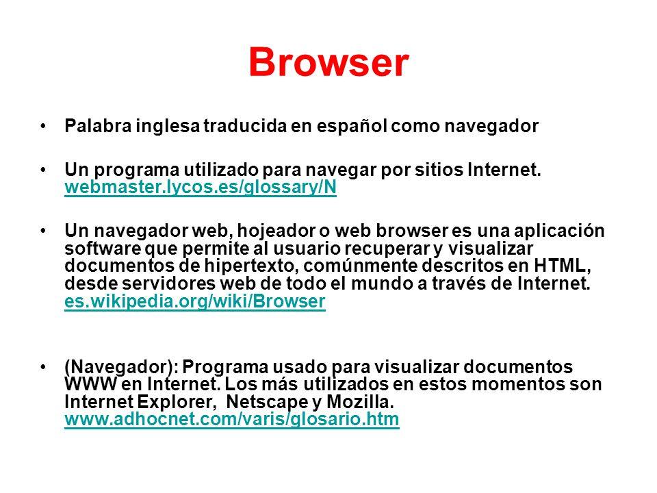 Browser Palabra inglesa traducida en español como navegador Un programa utilizado para navegar por sitios Internet. webmaster.lycos.es/glossary/N webm