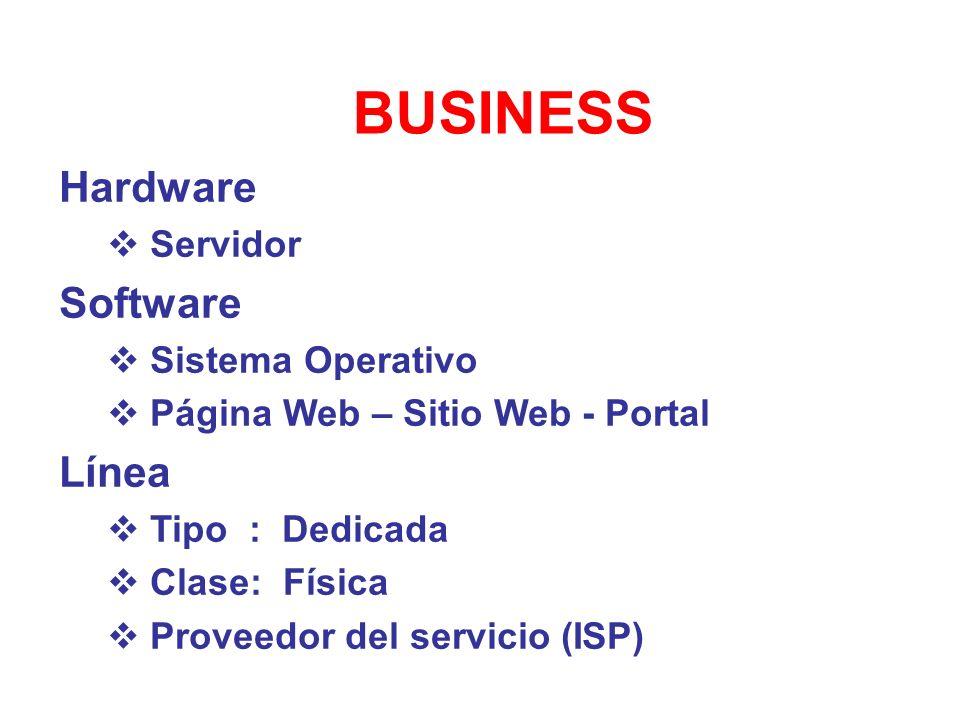 BUSINESS Hardware Servidor Software Sistema Operativo Página Web – Sitio Web - Portal Línea Tipo : Dedicada Clase: Física Proveedor del servicio (ISP)