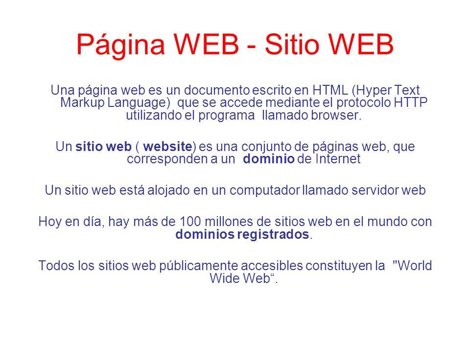 Página WEB - Sitio WEB Una página web es un documento escrito en HTML (Hyper Text Markup Language) que se accede mediante el protocolo HTTP utilizando