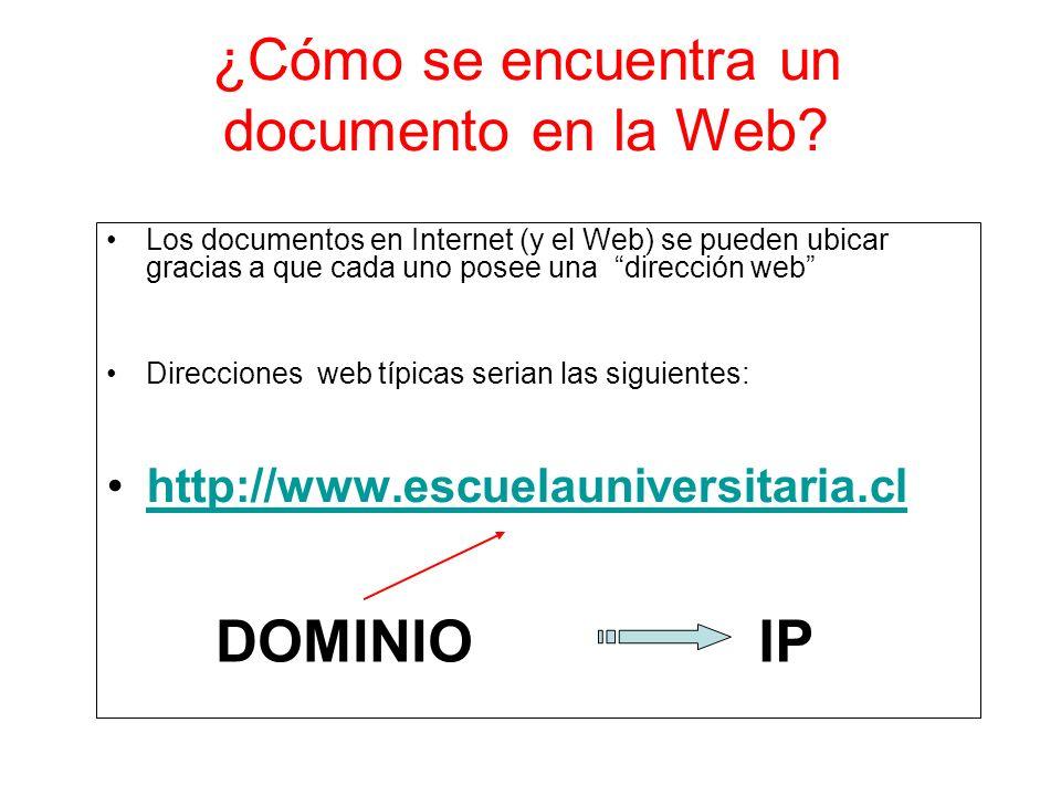 ¿Cómo se encuentra un documento en la Web? Los documentos en Internet (y el Web) se pueden ubicar gracias a que cada uno posee una dirección web Direc
