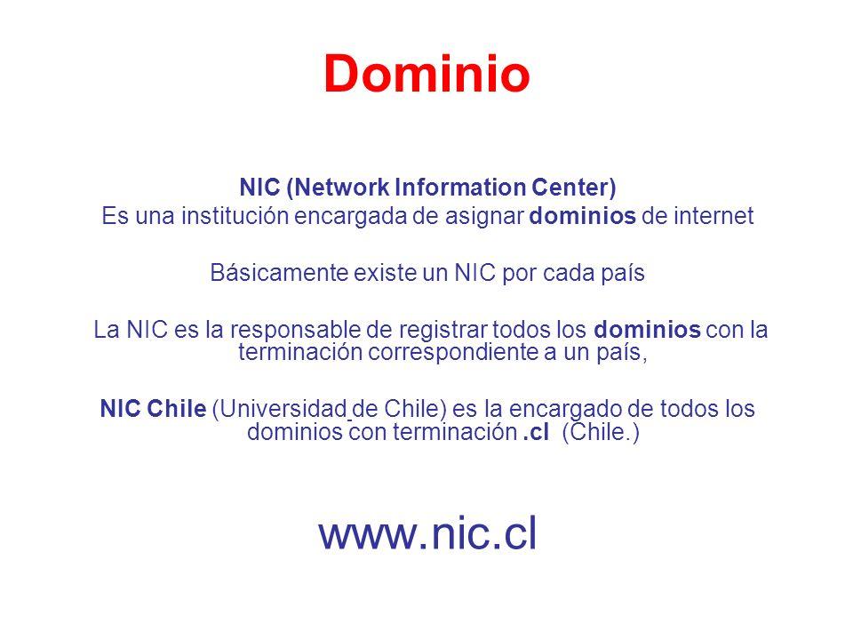 Dominio NIC (Network Information Center) Es una institución encargada de asignar dominios de internet Básicamente existe un NIC por cada país La NIC e