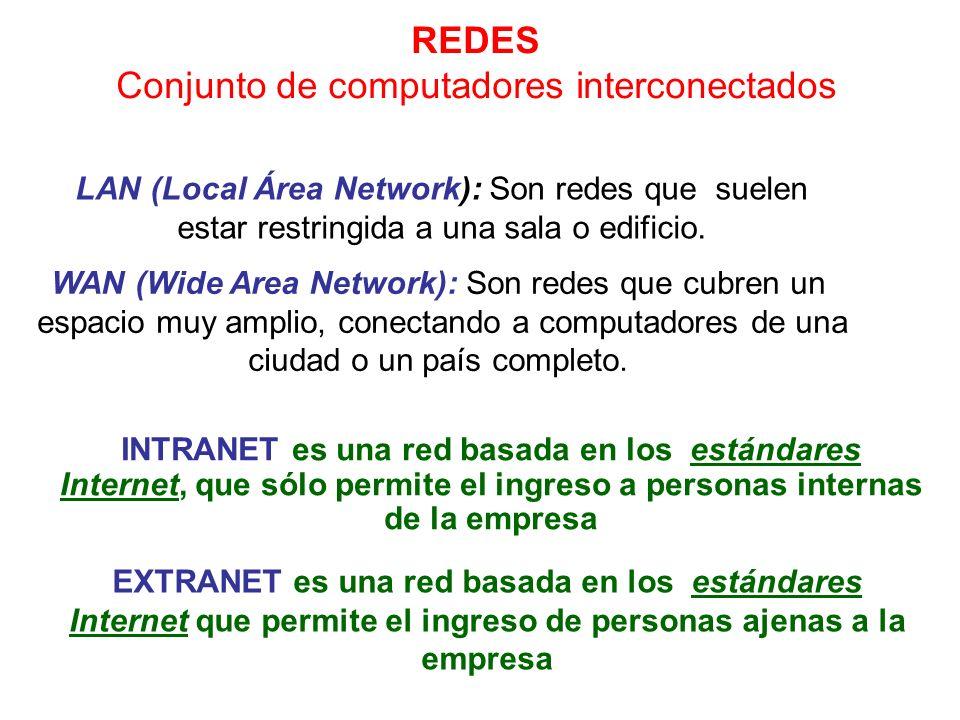 WAN (Wide Area Network): Son redes que cubren un espacio muy amplio, conectando a computadores de una ciudad o un país completo. REDES Conjunto de com