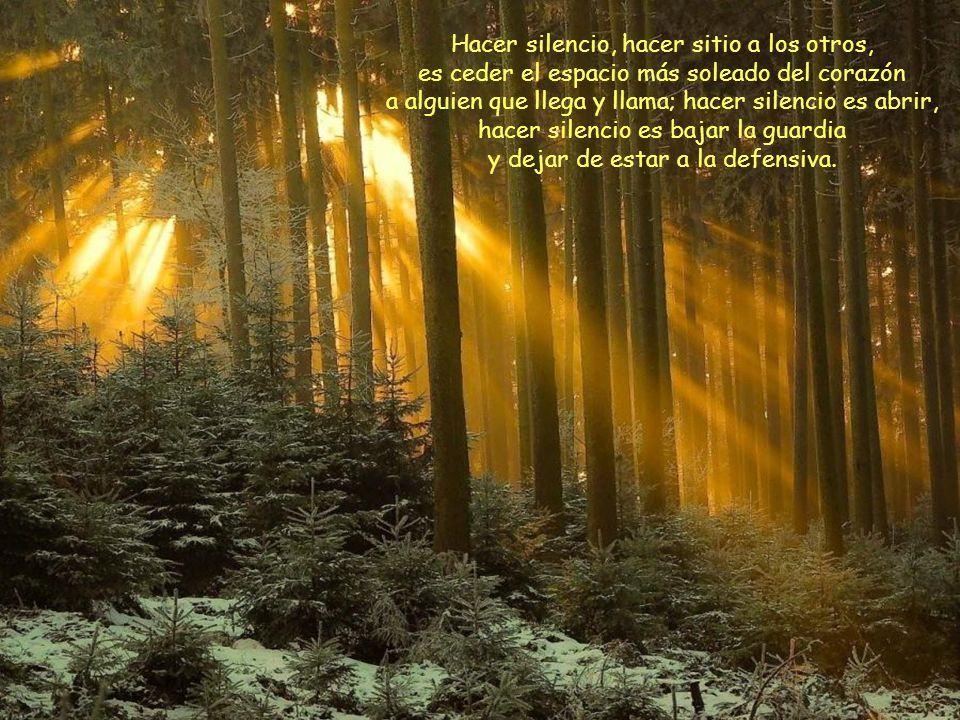 Hacer silencio, hacer sitio a los otros, es ceder el espacio más soleado del corazón a alguien que llega y llama; hacer silencio es abrir, hacer silencio es bajar la guardia y dejar de estar a la defensiva.