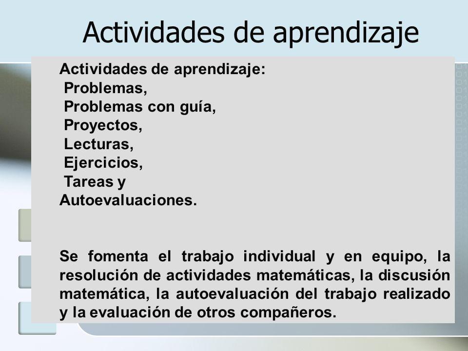 Actividades de aprendizaje: Problemas, Problemas con guía, Proyectos, Lecturas, Ejercicios, Tareas y Autoevaluaciones. Se fomenta el trabajo individua