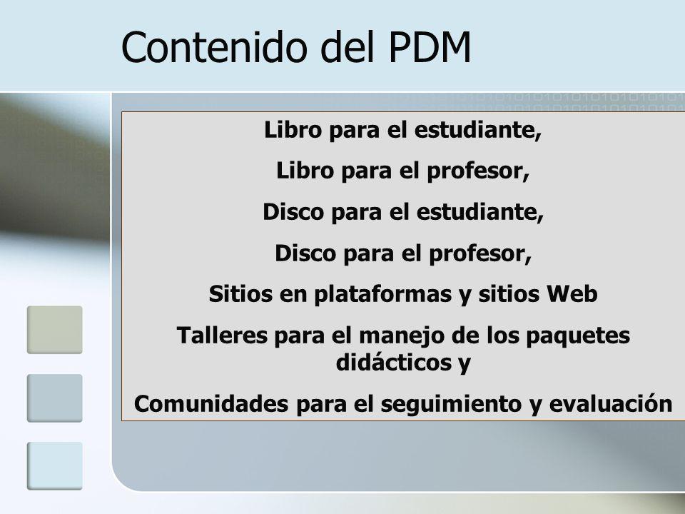 Libro para el estudiante, Libro para el profesor, Disco para el estudiante, Disco para el profesor, Sitios en plataformas y sitios Web Talleres para e