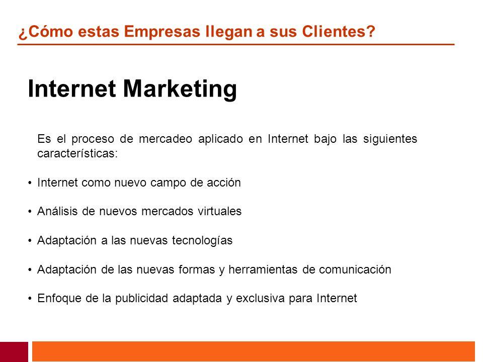 ¿Cómo estas Empresas llegan a sus Clientes? Internet Marketing Es el proceso de mercadeo aplicado en Internet bajo las siguientes características: Int