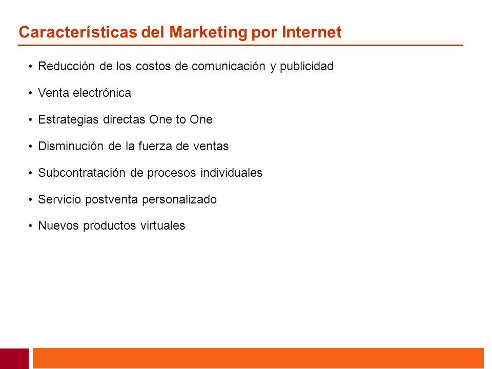Características del Marketing por Internet Reducción de los costos de comunicación y publicidad Venta electrónica Estrategias directas One to One Dism