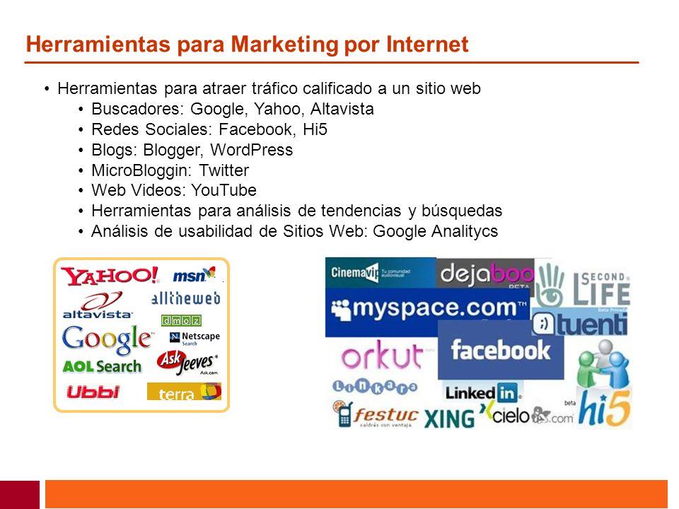 Herramientas para Marketing por Internet Herramientas para atraer tráfico calificado a un sitio web Buscadores: Google, Yahoo, Altavista Redes Sociale