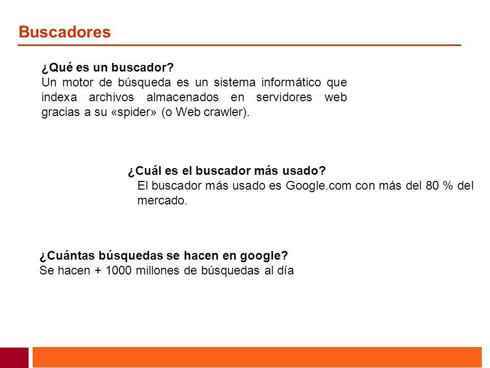 Buscadores ¿Qué es un buscador? Un motor de búsqueda es un sistema informático que indexa archivos almacenados en servidores web gracias a su «spider»