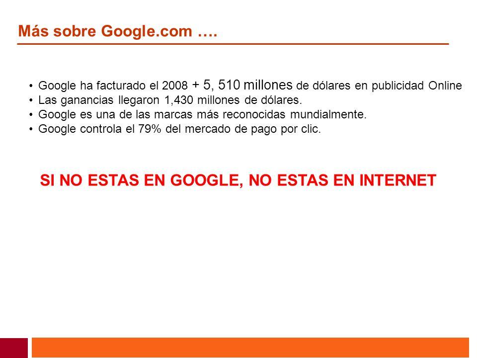 Más sobre Google.com …. Google ha facturado el 2008 + 5, 510 millones de dólares en publicidad Online Las ganancias llegaron 1,430 millones de dólares