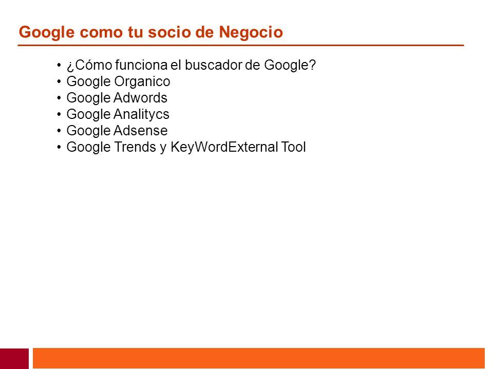 ¿Cómo funciona el buscador de Google? Google Organico Google Adwords Google Analitycs Google Adsense Google Trends y KeyWordExternal Tool